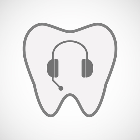 oral communication: Illustration of an isolated  line art tooth icon with  a hands free phone device