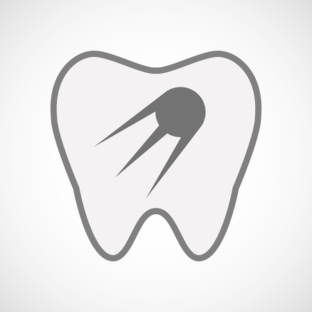 comunicacion oral: Illustration of an isolated  line art tooth icon with a vintage satellite