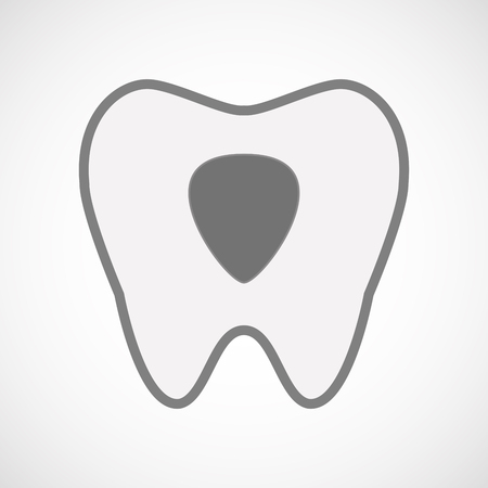 plectrum: Illustration of an isolated  line art tooth icon with a plectrum