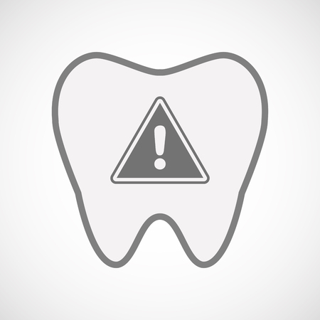 precaution: Illustration of an isolated  line art tooth icon with a warning signal