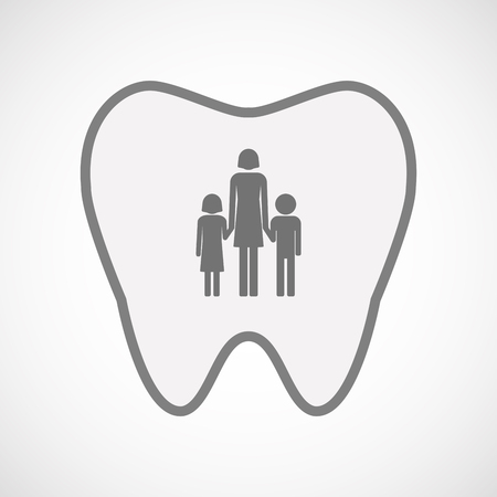 single parent: Illustration of an isolated  line art tooth icon with a female single parent family pictogram