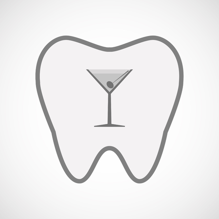 vermouth: Illustration of an isolated  line art tooth icon with a cocktail glass Illustration