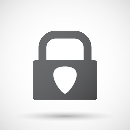 plectrum: Illustration of an isolated lock pad icon with a plectrum