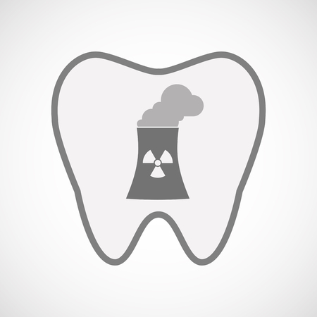 nuclear power station: Illustration of an isolated  line art tooth icon with a nuclear power station