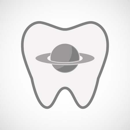 saturn rings: Illustration of an isolated  line art tooth icon with the planet Saturn