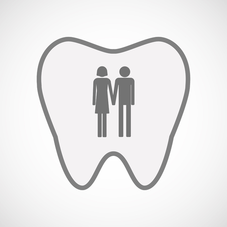 heterosexual couple: Illustration of an isolated  line art tooth icon with a heterosexual couple pictogram