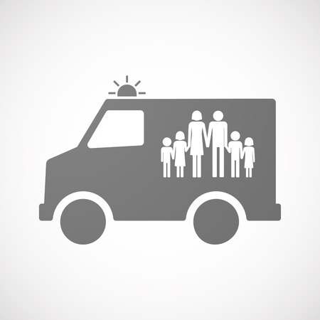 large family: Illustration of an isolated ambulance icon with a large family  pictogram Illustration