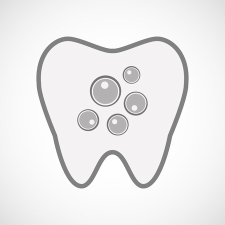insemination: Illustration of an isolated  line art tooth icon with oocytes