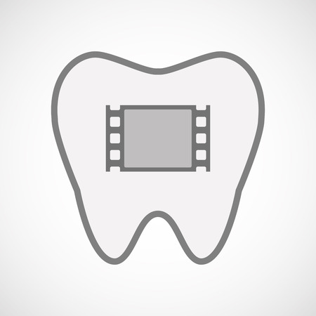 documentary: Illustration of an isolated  line art tooth icon with a film photogram Illustration