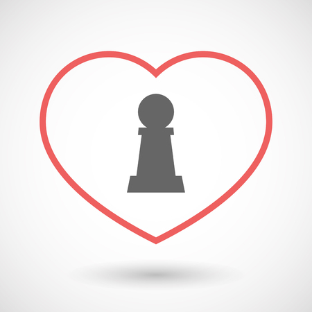 Illustration of an isolated  line art red heart with a  pawn chess figure Illustration