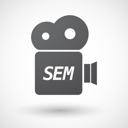 sem: Illustration of an isolated film camera icon with    the text SEM