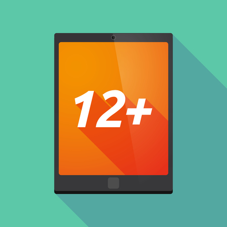 12: Illustration of a long shadow tablet PC with    the text 12+