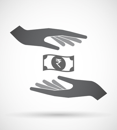 bank note: Illustration of an isolated pair of hands protecting or giving  a rupee bank note icon