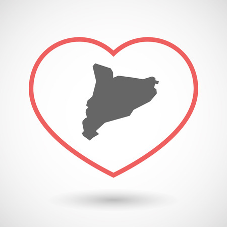 autonomy: Illustration of an isolated  line art red heart with  the map of Catalonia