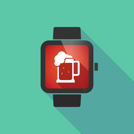 jarra de cerveza: Illustration of a long shadow smart watch with  a beer jar icon