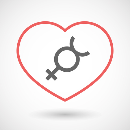 Illustration of an isolated  line art red heart with  the mercury planet symbol