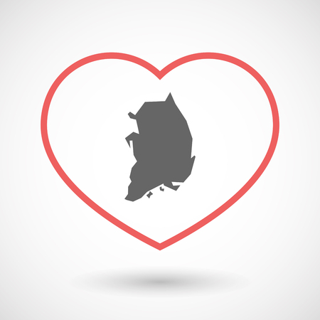Illustration of an isolated  line art red heart with  the map of South Korea Illustration