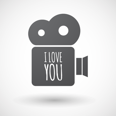 holiday movies: Illustration of an isolated film camera icon with    the text I LOVE YOU