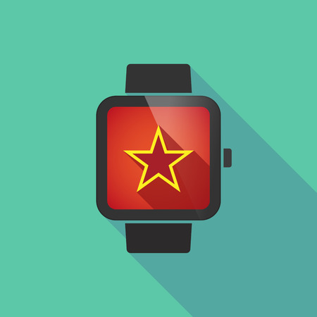 communism: Illustration of a long shadow smart watch with  the red star of communism icon