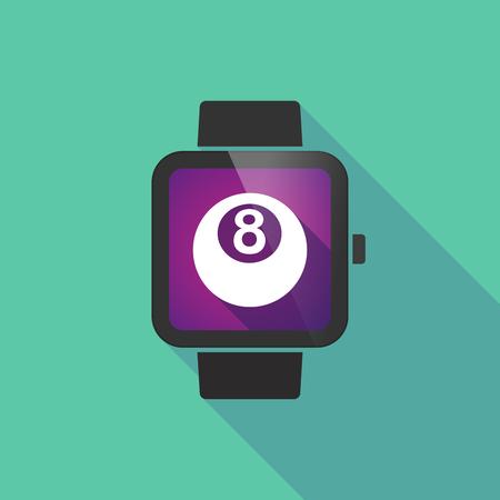 bola de billar: Ilustración de un reloj inteligente larga sombra con una bola de billar Vectores