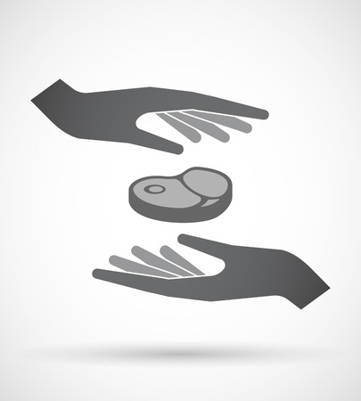 Illustration of an isolated pair of hands protecting or giving  a steak icon Ilustrace