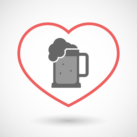 Illustration of an isolated  line art red heart with  a beer jar icon