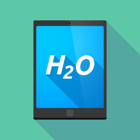 h2o: Illustration of a long shadow tablet PC with    the text H2O