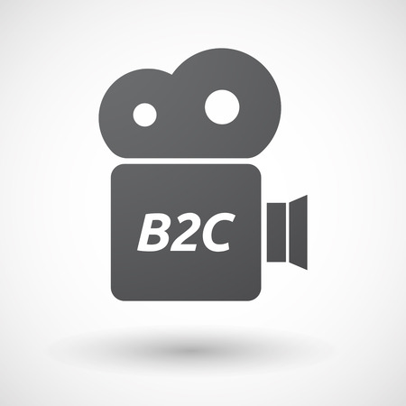b2c: Illustration of an isolated film camera icon with    the text B2C