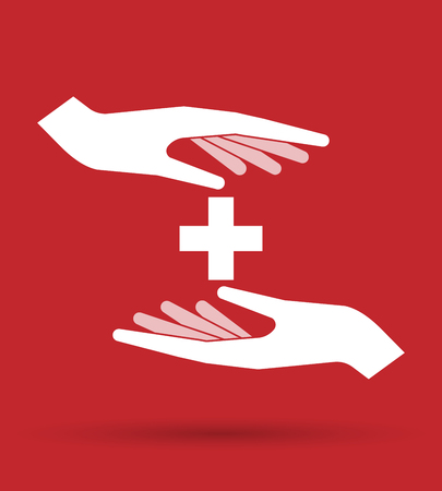 swiss flag: Illustration of an isolated pair of hands protecting or giving   the Swiss flag