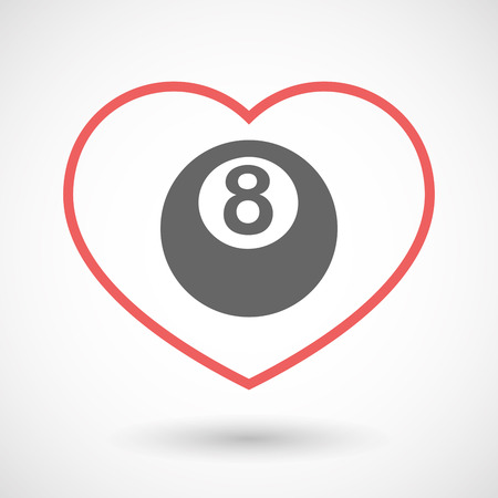 pool ball: Illustration of an isolated  line art red heart with  a pool ball Illustration