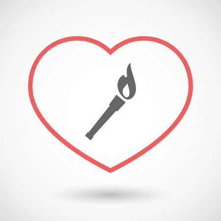 winning proposal: Illustration of an isolated  line art red heart with  a torch icon