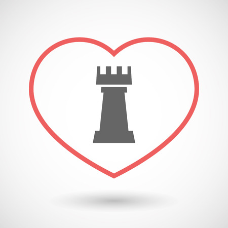 chess rook: Illustration of an isolated  line art red heart with a  rook   chess figure