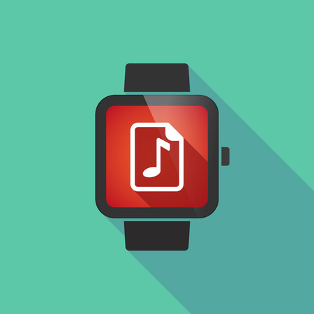 music score: Illustration of a long shadow smart watch with  a music score icon