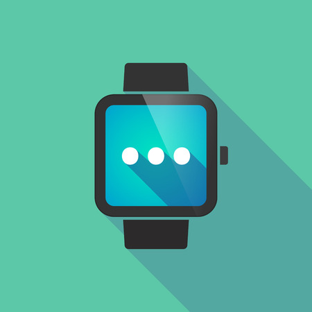 ellipsis: Illustration of a long shadow smart watch with  an ellipsis orthographic sign