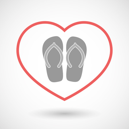 Illustration of an isolated  line art red heart with   a pair of flops