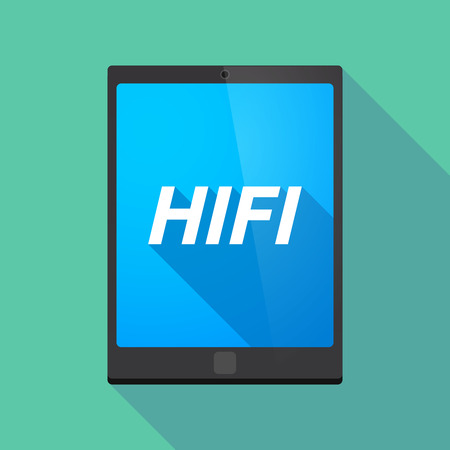 hifi: Illustration of a long shadow tablet PC with    the text HIFI