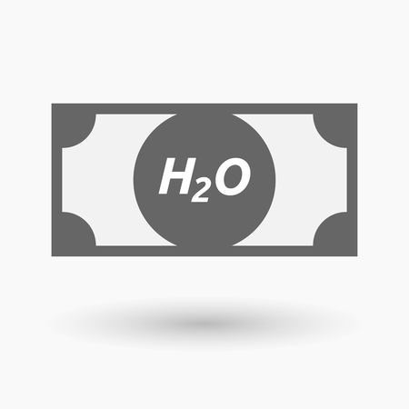h2o: Illustration of an isolated bank note icon with    the text H2O