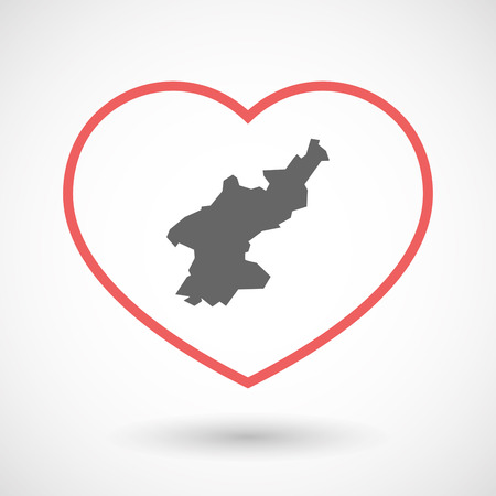 Illustration of an isolated  line art red heart with  the map of North Korea Illustration