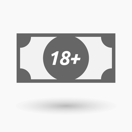 approval rate: Illustration of an isolated bank note icon with    the text 18+