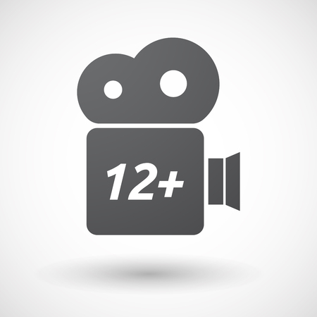 12: Illustration of an isolated film camera icon with    the text 12+