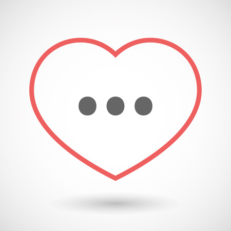 ellipsis: Illustration of an isolated  line art red heart with  an ellipsis orthographic sign