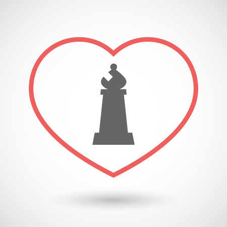 romance strategies: Illustration of an isolated  line art red heart with a bishop    chess figure