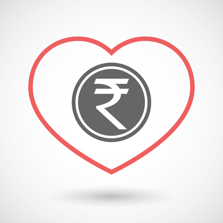 seduce: Illustration of an isolated  line art red heart with  a rupee coin icon