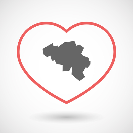 Illustration of an isolated  line art red heart with  the map of Belgium