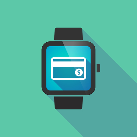 smart card: Illustration of a long shadow smart watch with  a credit card