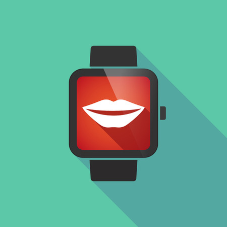 long mouth: Illustration of a long shadow smart watch with  a female mouth smiling