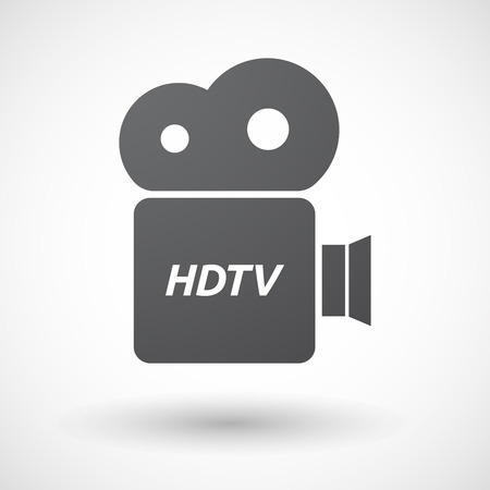 hdtv: Illustration of an isolated film camera icon with    the text HDTV Illustration