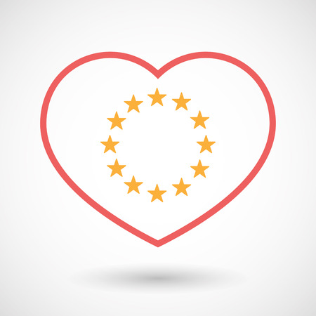 Illustration of an isolated  line art red heart with  the EU flag stars