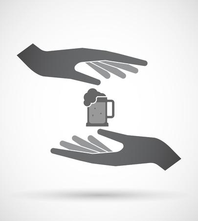 tarro cerveza: Ilustración de un par aislado de manos proteger o dar un icono de jarra de cerveza