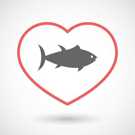 tuna fish: Illustration of an isolated  line art red heart with  a tuna fish Illustration